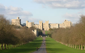 The view of Windsor Castle from the Long Walk